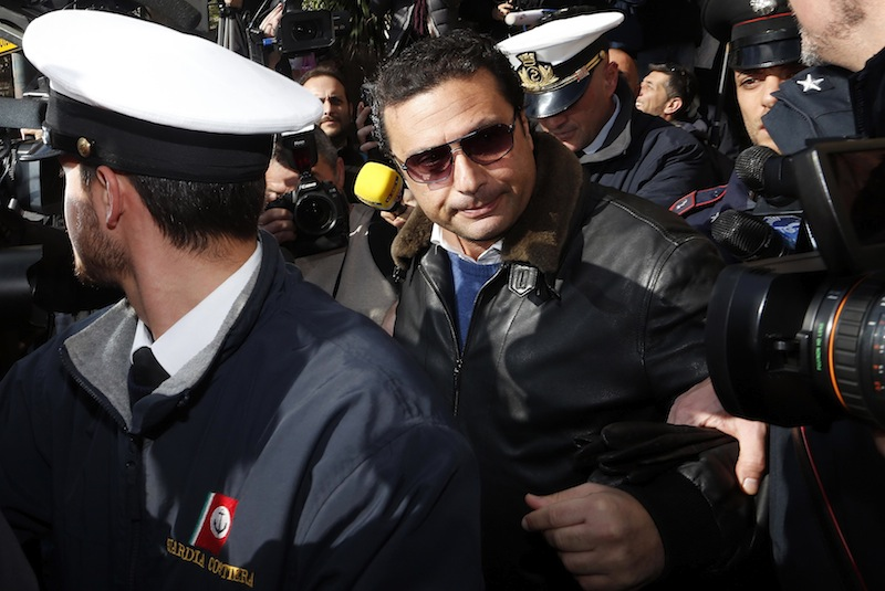 Schettino, the captain of the Costa Concordia cruise liner, arrives at Giglio harbour