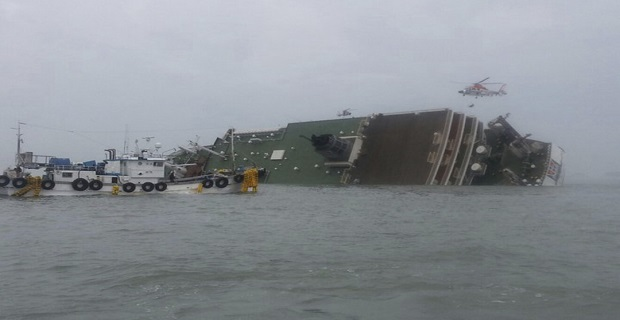 A South Korean passenger ship that has been sinking, is seen at the sea off Jindo