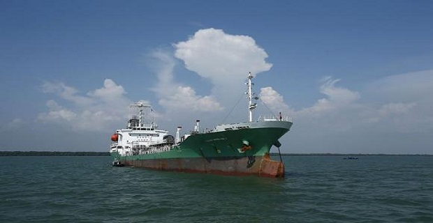 The Japanese oil tanker which was raided by armed pirates sails at Port Klang