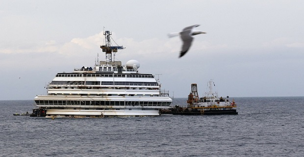 The cruise liner Costa Concordia is seen outside Giglio harbour