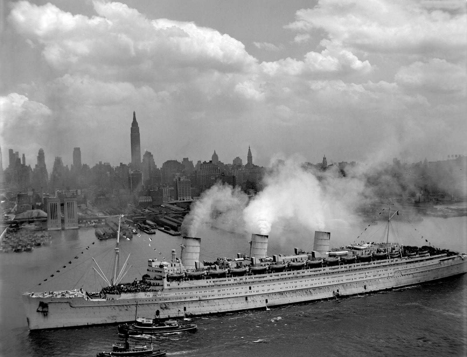 «Queen Mary» το 1945 στη Νέα Υόρκη - e-Nautilia.gr | Το Ελληνικό Portal για την Ναυτιλία. Τελευταία νέα, άρθρα, Οπτικοακουστικό Υλικό