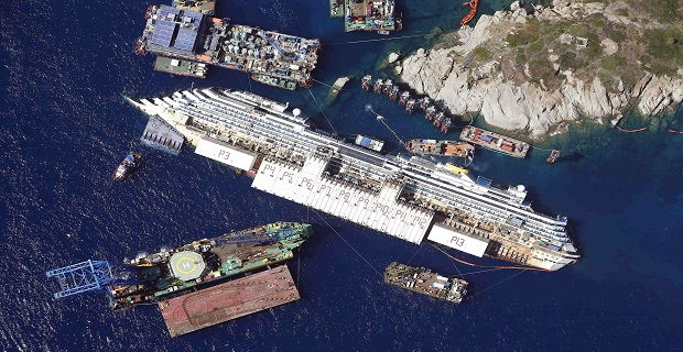 File photo of an aerial view of the Costa Concordia as it lies on its side next to Giglio Island taken from an Italian navy helicopter