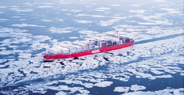 OOCL ship in ice