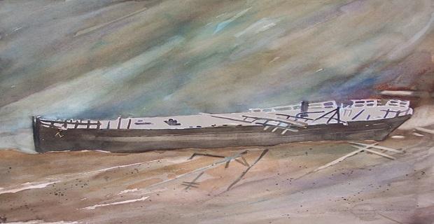 Το ναυάγιο του ατμοπλοίου σε εικόνα ζωγραφικής