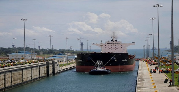 The first trial run with a Post-Panamax cargo ship in the new sets of locks on the Atlantic side of the Panama Canal