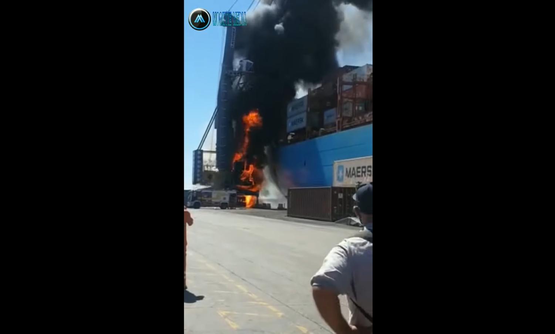 Πυρκαγιά ξέσπασε στο γερανό δίπλα στο πλοίο MAERSK LAVRAS (video) - e-Nautilia.gr | Το Ελληνικό Portal για την Ναυτιλία. Τελευταία νέα, άρθρα, Οπτικοακουστικό Υλικό