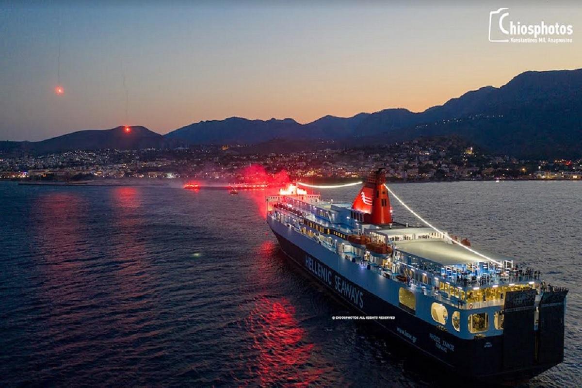 Το νήσος Σάμος αποδίδει χαιρετισμό στην Αγία Παρασκευή της Χίου με εντυπωσιακό τρόπο (video) - e-Nautilia.gr   Το Ελληνικό Portal για την Ναυτιλία. Τελευταία νέα, άρθρα, Οπτικοακουστικό Υλικό